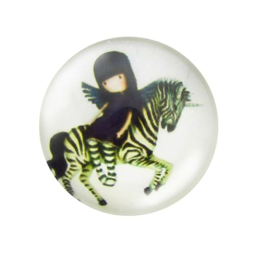 Glass cabochon with graphics 14mm PT1513 / green-white / 4pcs