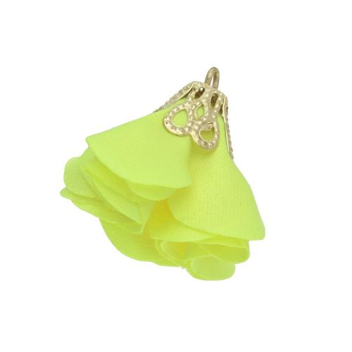 Satin Flower / with an openwork tip / 26mm / Gold Plated / yellow / 2 pcs