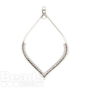 Antique Silver Zamak Large Leaf Hollow Dreamcatcher Charm 80x118mm Pk1