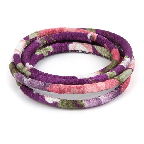 Purple Floral Fabric Round Cord 6.5mm 1metre