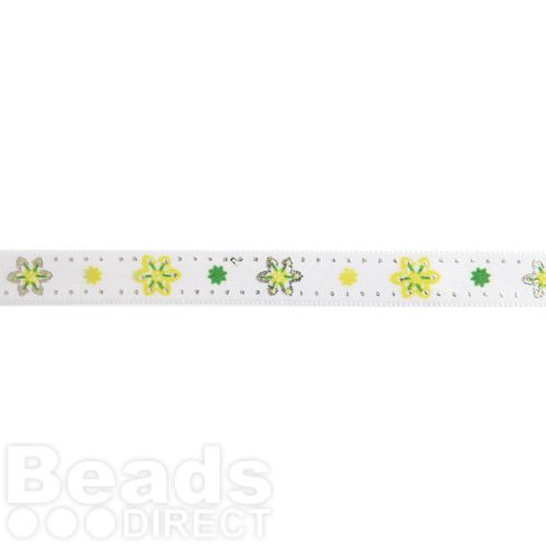 Green and White Flower Print Fancy Ribbon 10mm Pre Cut 1m Length