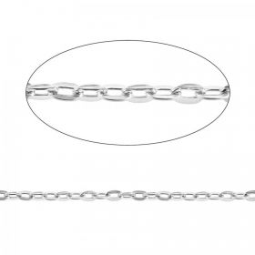 Silver Plated Oval Belcher Chain 4.5x5.5mm Pre Cut 1 Metre length