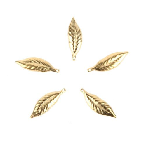 x Gold Plated Small Leaf Charms 6x20mm Pk5