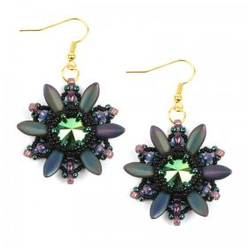 Green and Gold Starburst Earring Take a Make Break Kit - Makes x1 Pair