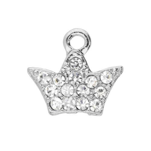 Glamm ™ Clover / charm pendant / with zircons / 11x12x2mm / silver plated / 2pcs
