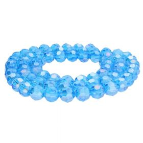 CrystaLove™ crystals / glass / faceted round / 8mm / azure / transparent / iridescent / 65pcs