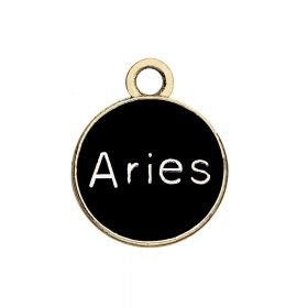SweetCharm™ Zodiac sign aries / charm pendant / 15x12x1.5mm / gold-black / 1pcs