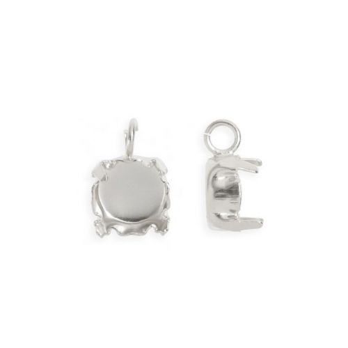 X Titanium Plated SS39 Chaton Setting Charm with Open Jumpring Pk2