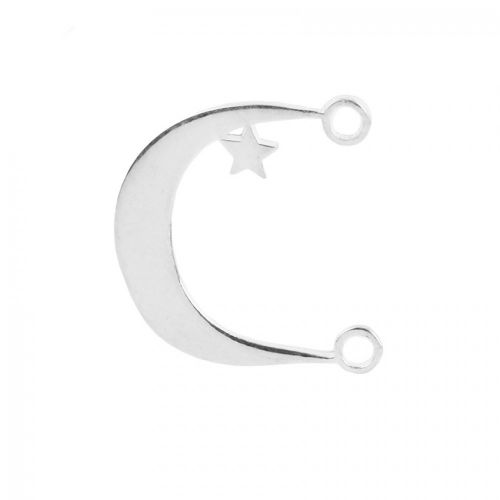 X- Sterling Silver 925 Moon and Star Connector 14x17.5mm Pk1