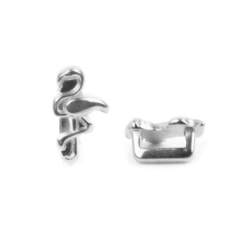Antique Silver Zamak Flamingo Slider Bead 7x10mm Hole-2x5mm Pk1