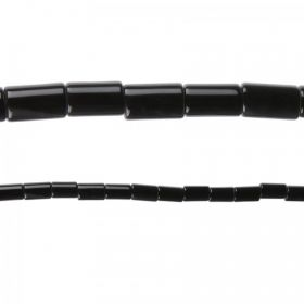"Black Agate Semi Precious Tube Beads 8x12mm 15"" Strand"
