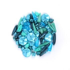 Preciosa Czech Glass Shape Mix Turquoise Tones 20g