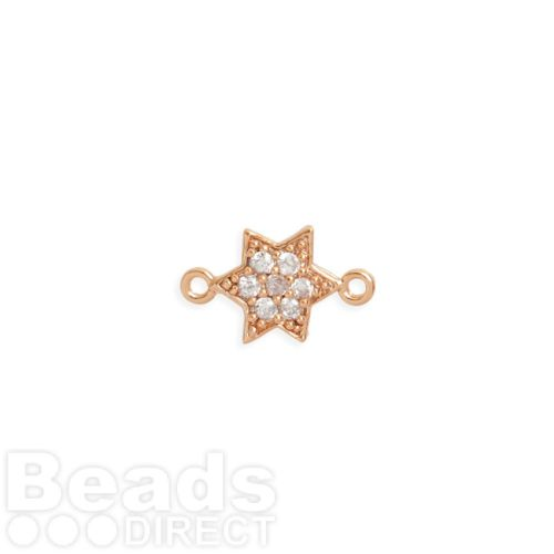 Rose Gold Plated Brass Small Star Connector with Crystals 8mm Pk1