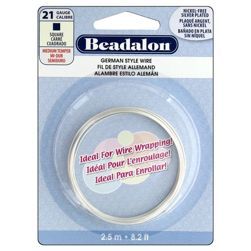 Beadalon Silver Plated Nickel Free Square Wire 21gauge 2.5m