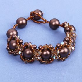 Brown Velvet Hugs and Kisses Bracelet Kit Made with Swarovski - Makes x1