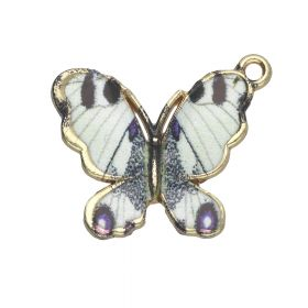 SweetCharm™ butterfly / charm pendant / 18x21x2.5mm / KC gold-ecru / 2pcs