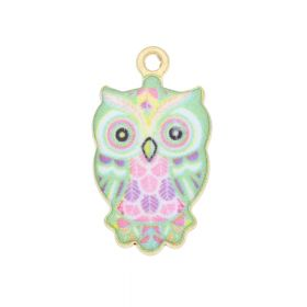 SweetCharm™ owl / charm pendant / 23x12x2.5mm / KC gold-bright green / 2pcs