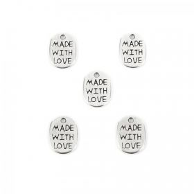 Antique Silver Plated Small 'Made With Love' Charms 8x11mm Pk5
