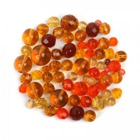 Preciosa Czech Glass Bead Mix Topaz & Orange 50g