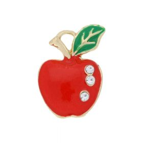 SweetCharm ™ Apple / pendant charms / 3 zircons / 19.5x14.5x2.5mm / gold plated / red / 2pcs
