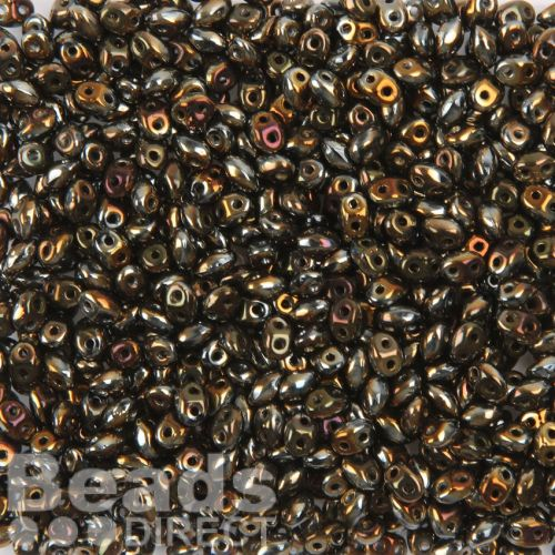 Preciosa Twin Hole Pressed Seed Beads Black and Gold 2.5x5mm 10g
