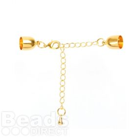 Gold Plated Cord Ends, Extension Chain & Lobster Clasp 9mm Pk1
