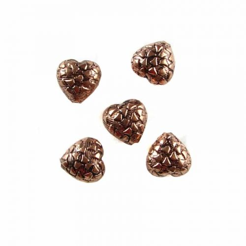 """X"" Copper Colour Patterned Heart Beads 12mm Pk5"