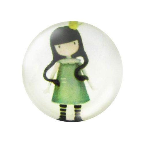 Glass cabochon  with graphics 20mm PT1509 / green / 2pcs