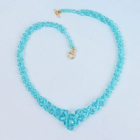 Turquoise Graduated Bicone Necklace made with Swarovski - Makes x1