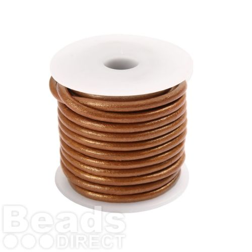 Copper Round Leather 2mm Cord 5 Metre Reel