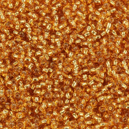 Preciosa Size 10 Round Seed Beads Silver Lined Topaz 50g