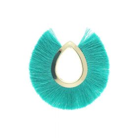 Tassel / viscose thread / large drop / 65mm / turquoise / 1pcs