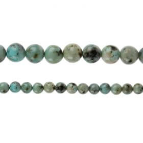 "African Turquoise A Grade Semi Precious Round Beads 6mm 15"" Strand"