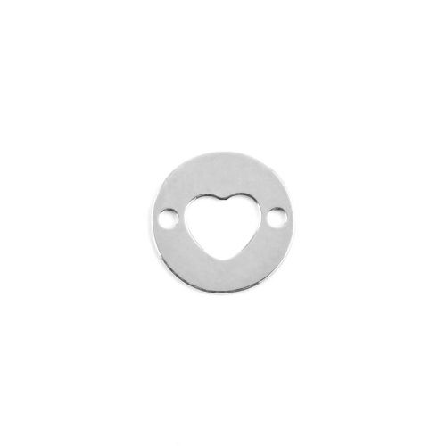 X- Sterling Silver 925 Small Cut Out Heart Connector 8mm Pk1