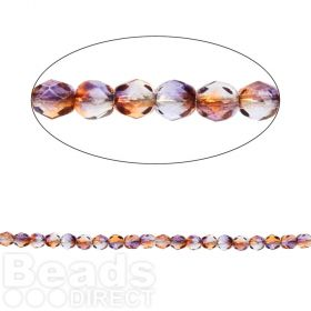 Czech Fire Polished 4mm Dual Coated Cantaloupe/Grape Pk100