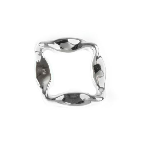 X- Sterling Silver 925 Irregular Cut Out Square Connector 28x32mm Pk1