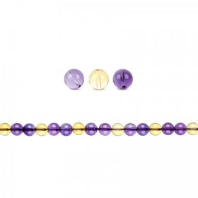 Natural Ametrine Semi Precious Round Beads 4mm Pk20