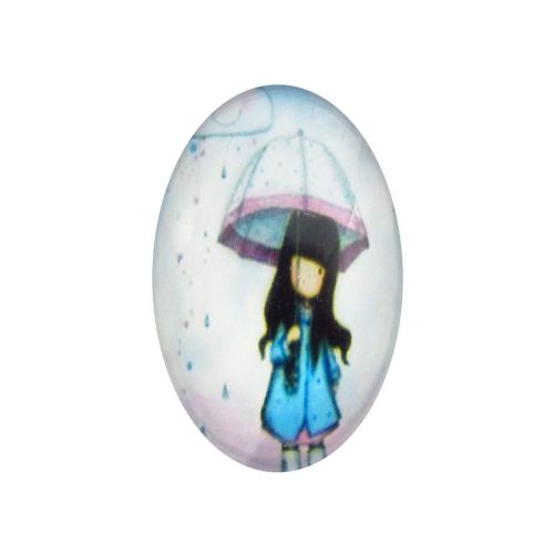 Glass cabochon with graphics oval 13x18mm PT1488 / cyan / 2pcs