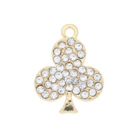 Glamm ™ club / charm pendant / with zircons / 19x14x3mm / gold plated / black / 1pcs