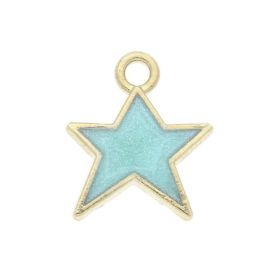 SweetCharm ™ Christmas star / charms pendant / 14x12x2mm / turquoise / gold plated / 2pcs