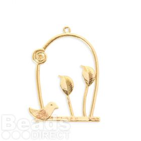 Gold Plated Brass Bird and Leaf Flat Charm 21x33mm Pk1