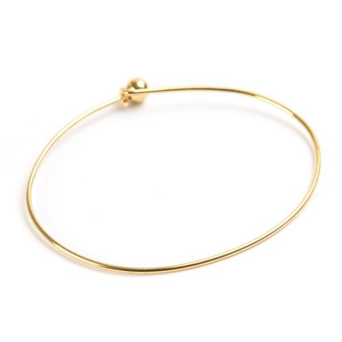 X Gold Plated Bangle Bracelet Base 50x65mm with Ball and Hook Fasten Pk1