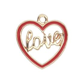 SweetCharm ™ Heart Love   pendant charms / 18x17x1mm / gold plated / red / 2pcs