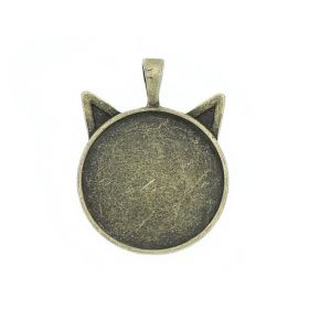 Cat / pendant / for 25mm cabochon / 36x27x6mm / antique bronze / loop 4mm / 1pcs