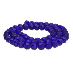 CrystaLove™ crystals / glass  / faceted round / 4mm / navy blue / transparent / 100pcs