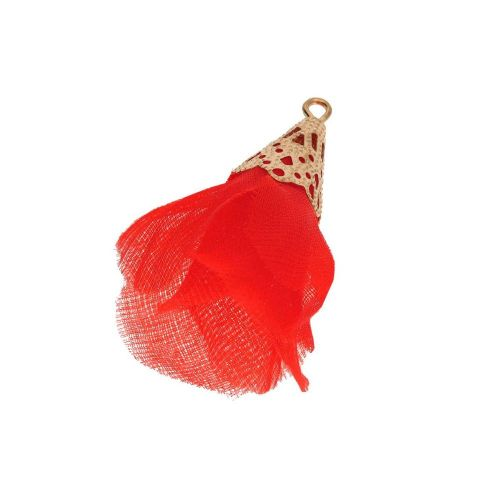 Tulle flower / with openwork tip / 30mm / Gold Plated / red / 2 pcs