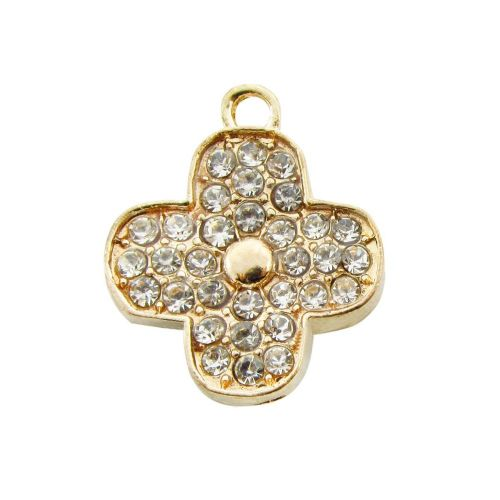 Clover with 32 zircons / 20x17mm / charm pendant / gold plated / hole 2mm / 1pcs