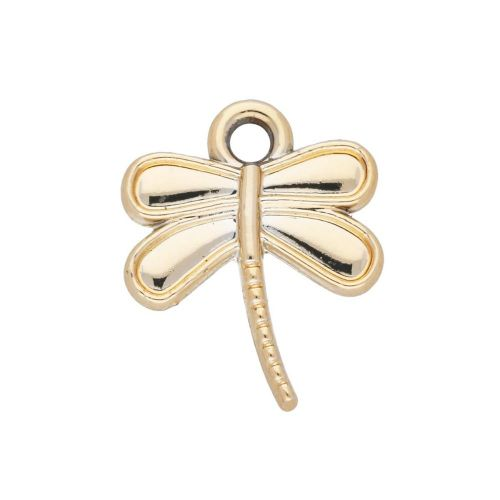 Dragonfly / charm pendant / 16x13x2.5mm / gold plated / 2pcs