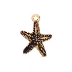 SweetCharm ™ Starfish / charms pendant / 19x15mm / gold plated / brown / 2pcs
