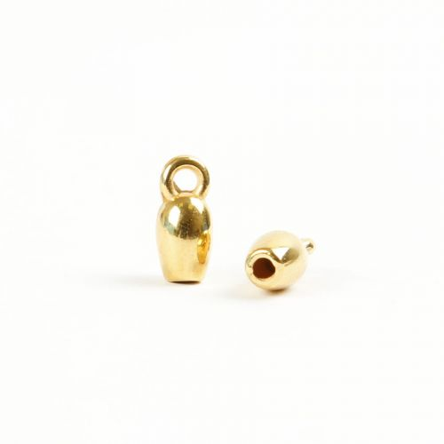 Gold Plated Zamak Cord Ends with Loop 4x10mm 2mm Hole Pk4